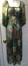 NWT Anthro ARYEH Sheer Boho Dress Blue Brown Ivory Floral Print Sz L New