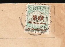 Germany Inflation JD Riedel Chemical Factory Berlin 1923 20 Billion Pf Cover 6y