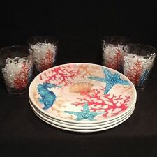 Cynthia Rowley Melamine Seahorse Coral Reef Dinnerware Set of 8 Plates & Cups