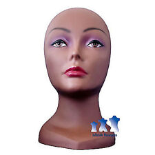 Female Mannequin Head with Face, Dark Skin-tone