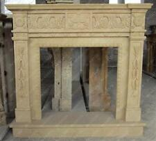 Classic Hand Carved Marble Fireplace Mantel with Raised Hearth