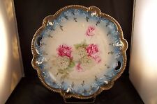 Fabulous RS Prussia Floral Motif Pink Roses White Hydrangea Plate HandPainted 2v