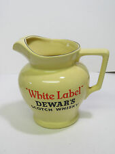 Dewars Scotch Whiskey White Label Wade England Pub Jug Yellow Pitcher