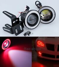 "2Pcs Red 2.5"" Projector LED DRL Fog Light Lamp w/ COB Halo Angel Eyes Rings"