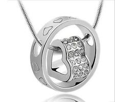 925 Sterling Silver Plated Fashion Heart Crystal Pendant Necklace  chain