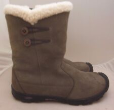 Keen Boots Womens Size 6 Tan Suede Leather Winter Boots Sherpa Fleece Lined Zip