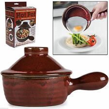 CERAMIC COOKWARE MICROWAVE HOT POT STONEWARE KITCHEN STEAM REALISING LID DISH
