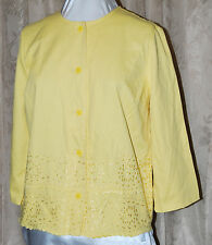 LIZ CLAIBORNE NEW YORK BUTTON FRONT EMBROIDERED EYELET TWILL JACKET YELLOW MED
