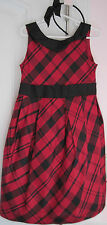 NWT Janie and Jack Girls Pretty in Plaid Holiday Red Black Silk/Headband Size 2T