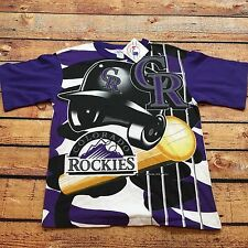 90s VTG NWT COLORADO ROCKIES All Over Print Youth L Adult XS Jersey T Shirt MLB