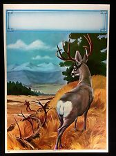 """HUNTING  RIFLE DEER By TIPBACEK  LITHO 12"""" by16""""1950s #C54"""
