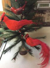 Vtg Lot 3 Cardinal Clip On Ornaments Red Bird Feathers Glass Plastic Clamp GUC