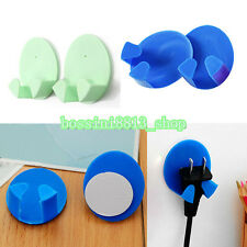4X Fancy Home Office Plastic Power Wall Adhesive Plug Socket Holder Hanger Hook