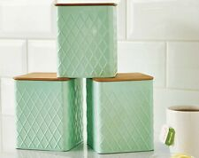Brand New Set of 3 Tea Coffee Sugar Canisters Mint Green Colour with Bamboo Lids