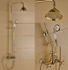 "Luxury Gold Plated Bathroom Dual Handle Shower Faucet 8"" Brass Shower Head"