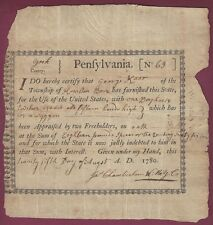 Pennsylvania Revolutionary War Bond, Horses For George Washington's Army, 1780