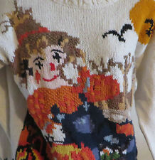 Crystal Kobe Womens Large Ugly Halloween Sweater Scarecrow Pumpkin