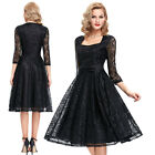 NEW Black 1950s Swing Pinup Vintage Evening Cocktail Party Retro HOUSEWIFE Dress