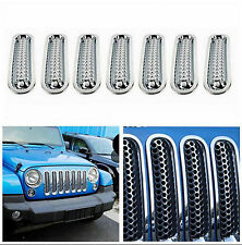 7x Chrome Front Grill Mesh Grille Insert Guard Cover For Jeep Wrangler JK 07-15