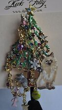 KIRKS FOLLY  CHRISTMAS CAT AND MOUSE TREE PIN  IN GOLD TONE