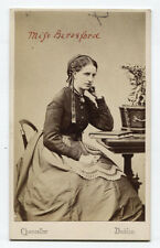 CDV WOMAN AT TABLE WITH BOOK, DUBLIN.