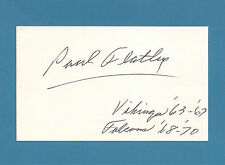 Paul Flatley  - Vikings, Flacons  WR - RB - Signed 3 x 5 Index Card