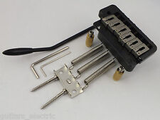 WILKINSON WVP2 TREMOLO BRIDGE, Stainless Steel Saddles in Chrome, Black + Gold