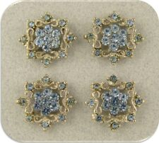 2 Hole Beads Flowers Snowflake Lt Sapphire Blue Swarovski Crystal Elements QTY 4