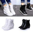 Womens High Top Hidden Wedge Sneakers Lace Up Casual Shoes Velcro Ankle Boots