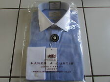 Hawes Curtis Shirt 15.5/35 Blue/White Stripe, Contrast Collar Double Cuff, Slim