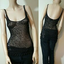 The Vestry Black Sequin Beaded Beads Low Back Vest Top Crochet Fishnet Size S M