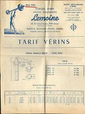 94 IVRY-SUR-SEINE TARIF VERINS FORGES D' IVRY ETS LEMOINE ACIERIES D' IMPHY 1956