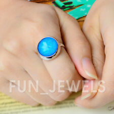 New Multi Color Change Facet Stone Round Mood Ring Free Box&Chart Retro Vintage