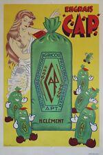 """""""ENGRAIS C.A.P. APT"""" Affiche originale entoilée Litho Fernand BOURGEOIS 1955"""