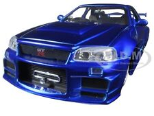 "BRIAN'S NISSAN SKYLINE GTR R34 BLUE ""FAST & FURIOUS "" MOVIE 1/24 BY JADA 97158"