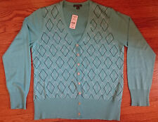 Brooks Brothers Blue Turquoise White Sweater Cardigan Knit size XL New, gift Box