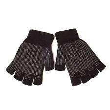 Fingerless Magic Knitted Gripper Gloves (Black)