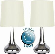 18533 - Teardrop Touch Table Lamp Cream Shade X2