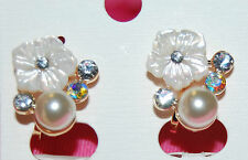 White Mother-of-Pearl Flower Clip-on Earrings wih Shell Pearls in Gold Setting