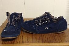 Womens Size 8 LUCKY BRAND Suede & Canvas Blue Sip On Sneakers