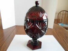 RUBY RED EGG SHAPED COVERED GLASS CANDY DISH