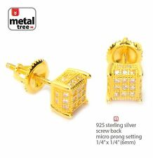 Men's 925 Silver 14k Gold Plated Micro Pave 3D Cube Screw Back Stud Earring 461G