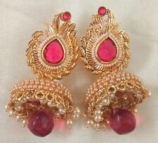 Indian Gold Plated Pearl Fuchsia Jhumka Bali Bridal Party Earrings Set Jewelry