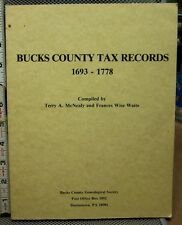BUCKS COUNTY Tax Records 1693-1778 genealogy book Pennsylvania