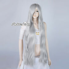 Straight 100CM Silver White Long Anime Cosplay Lady Girl Heat Resistant Full Wig