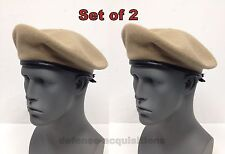 SET OF 2 NEW Military Issue Inspection Ready Tan Wool Beret SIZE 6 3/4 SMALL