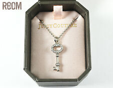 Juicy Couture Silver Wish Key Pave Pendant Necklace with box