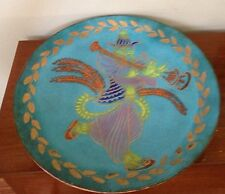 "Amazing Vintage CALIFORNIA CLOISONNE COPPER 18"" Wall Charger Plate Bowl Blue"