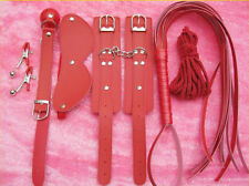 Pu leather Month Ball GAG Whip Hand Wrist Cuffs Rope Eye BLINDFOLD Party Toy Set