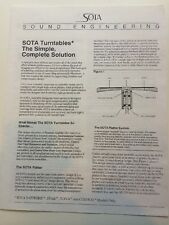 SOTA Sound Engineering Turntable Marketing Brochure 1994 4 Panel RARE!!! +bonus!